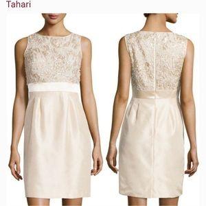 Beautiful Tahari sheath dress cream sz 12 EUC